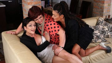 Maturenl - Three mature lesbians getting wet on the couch