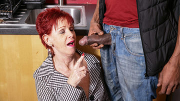 Maturenl - Naughty British mature lady gets a big hard black cock to please her