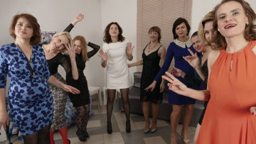 Maturenl - Nine horny women have a sex party and share one lucky guy