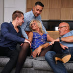 Maturenl - Sexy hairy housewife gets fucked in both holes by three guys and all her boyfriend can do is watch.