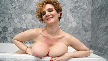 Maturenl - Steamy MILF with big tits playing in the bathroom