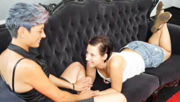 Maturenl - Horny Old And Young Lesbian Couple Make Out On The Couch