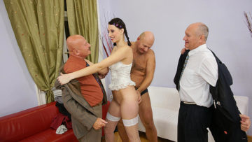 Maturenl - Three Dirty Old Men Fucking A Hot Teeny Slut