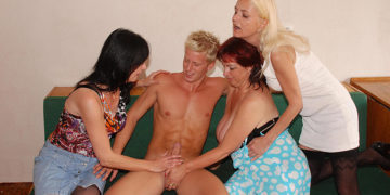 Maturenl - Three Horny Mature Sluts Share One Hard Strapping Dude