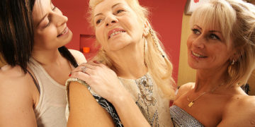 Maturenl - Three Old And Young Lesbians Have Fun On The Bed