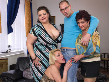 Maturenl - Three Mature Ladies Fucking And Sucking A Toyboy