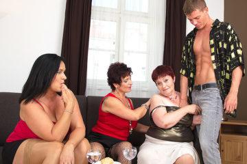 Maturenl - Three Naughty Mature Ladies Sharing One Hard Cock